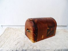 Old Cedar Chest -jewelry -trinket Box With Unusual Curved Lid -handmade With…