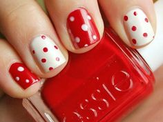 Red and white polka-dot idea, which looks simple. I'm gonna actually have a life for a second and go try this!