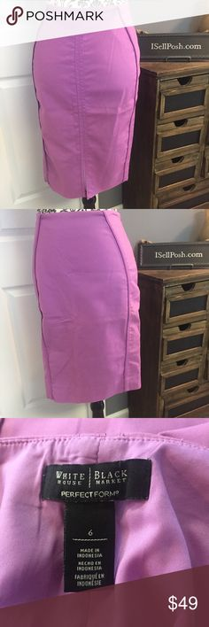 WHBM lavender pencil skirt sz 6 WHBM lavender / light purple colored pencil skirt. Hidden left side zipper. Measurements laying flat are: waist 15, hips 19, length 23. Skirt is lined and material does stretch. Cotton, nylon and spandex mix on the outer shell and rayon lining. White House Black Market Skirts Pencil