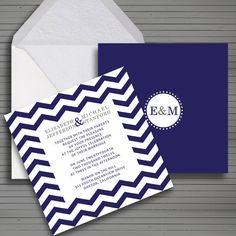 Wedding invitation DIY. Monogram on back, chevron texture on front. Custom and printable.
