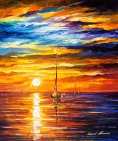 Lonely Sea 3 ORIGINAL Contemporary SeaScape by AfremovArtStudio