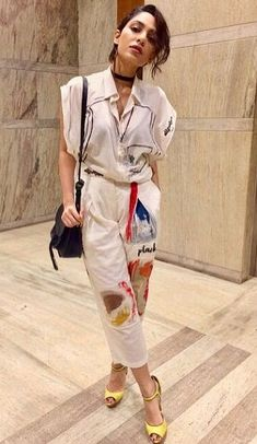 Sobhita Dhulipala wore a jumpsuit by Doodlage paired up with yellow heels from Aldo. She was carrying a bag from Chloé. Yellow Heels, My Only Love, Arya, Bollywood Actress, Carry On, Chloe, Jumpsuit, Pairs, Actresses