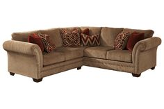 """With the traditional beauty of the nail head accents adorning the dramatic shape of the rolled arms, the """"Grecian-Amber"""" upholstery collection features a thick textured chenille fabric surrounding the plush boxed seat cushions and pillow back design to offer the classic traditional style with the comfort you deserve."""