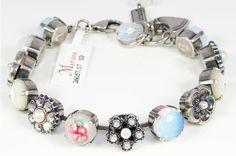 Seashell collection genuine opal, pearl & Swarovski crystal bracelet set in .925 sterling silver plate. Handmade in Israel. #Mariana Jewelry #Swarovski Crystal #Gemstone #BluRoxx