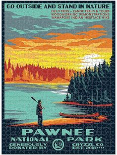 Pawnee National Park - 1000pc Puzzle Poster Indian Heritage, Parks N Rec, Go Outside, Canoe, The Outsiders, Trail, National Parks, Art Gallery, Hiking