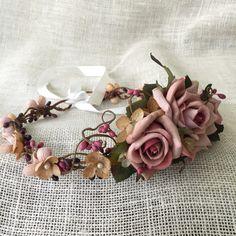 Rustic wedding flower crown bridal flower crown by HollyHoopsArt