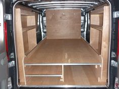 Plywood Linings, Rear Seat Conversions, Shelving, Racking supplied and fitted by Multum Commercial Vehicle Conversions Trailer Shelving, Van Shelving, Trailer Storage, Commercial Van, Commercial Vehicle, Mercedes Camper Van, Van Organization, Van Storage, Storage Ideas