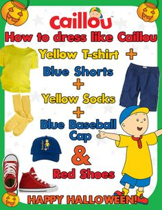 Caillou Halloween Fun: DIY Caillou Costume. Sometimes a red baseball cap with a blue fin.