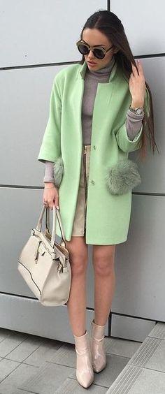 Mint Green Coat + Shades Of Neutral                                                                             Source