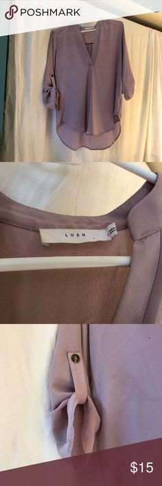 Lush V Neck Blouse ✨ can be dressed up or down ✨ beautiful pinky taupe color ✨ perfect for office  ✨ has two small stains (could be washed out) Lush Tops Blouses