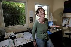 Anne Lamott's writing space. Surprised by the beige walls!