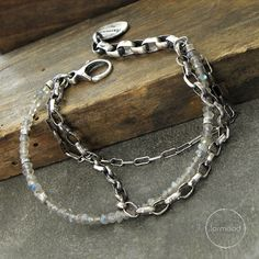 sterling silver and  labradorite bracelet