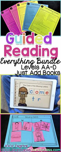 Now guided reading can be done digitally or not! This toolkit includes 24 reading strategies with anchor charts and lesson plans, prompts, word work and sight word activities, assessments and comprehension. Goes along with Fountas and Pinnell's guided reading levels Pre A-D. Skills are geared for kindergarten and good for first grade students on more of an emergent level too. This resource is great for those who need guidance on how to teach it. Pairs great with Jan Richardson's methods too!