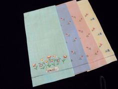 Set of 4 Lovely Pure Linen Hand Towels with Embroidery Flowers from glorybee on Ruby Lane