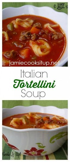 Italian Tortellini Soup from Jamie Cooks It Up! I seriously make this soup at least once a month during the winter, fall...and spring. We love it!