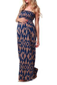 Navy Blue Mocha Diamond Print Strapless Maxi Maternity Dress