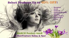 HairVenture March Product Sale Dermalogica, Aveda, Country Life, Salons, Dreadlocks, Long Hair Styles, Facebook, Beauty, March