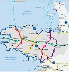 Cycling trip Voyage à vélo map of the greenways of Brittany Jersey Channel, Rando Velo, Packing List Beach, Cycling Holiday, Cool Bike Accessories, Going On Holiday, Holiday Ideas, Travel Tours, Travel Ideas