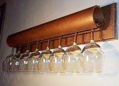 Unique Shelving   Unique Wine glass Shelf in hammered copper by MichelleNapier