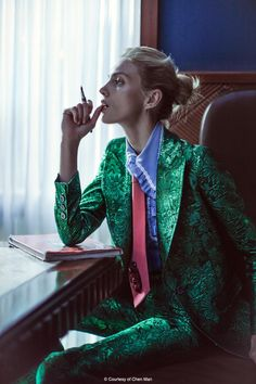 Anja Rubik by Chen Man for Vogue China February 2016 - Gucci Spring 2016