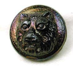 Antique Black Glass Button w Carnival Luster Tiger Head Design   eBay