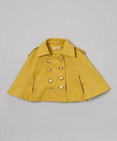 Look what I found on #zulily! Yellow Spring Button Cape - Toddler & Girls #zulilyfinds