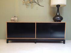 Vintage 1960s 2Tone CREDENZA Dunbar Style Mid Century Modern Dresser Black  Blond