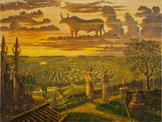 An artist's view of Neolithic Trypillia around 4000 BCE, one of the main ancient settlements belonging to the Cucuteni-Trypillian culture, Ukraine