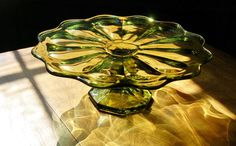 Green Glass Cake Stand Green Glass Footed by CobblestonesVintage, I want this for my wedding cake!!