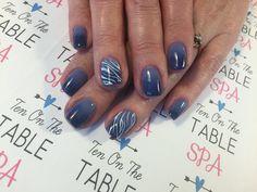 Blue ombre and zebra print Nailart