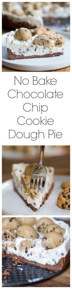 No Bake Chocolate Chip Cookie Dough Pie