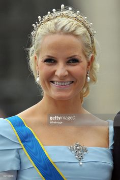 Norwegian Crown Princess Mette-Marit attends the wedding of Crown Princess Victoria of Sweden and Daniel Westling on June 19, 2010 in Stockholm, Sweden.