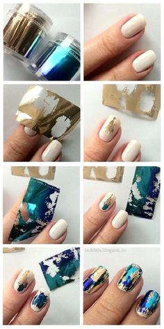 Take a look at 15 amazing foil nails for long and short manicures in the photos below and get ideas for your own amazing nail art! New foils…reminds me of my bestie nails…I'm going to try this! Foil Nail Art, Foil Nails, Nail Art Diy, Nails With Foil, How To Nail Art, Easy Nail Art, Cute Nails, Pretty Nails, Hair And Nails