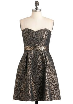 Goldleaf Glamour Dress - Black, Gold, Floral, Holiday Party, A-line, Strapless, Sweetheart, Pockets, Mid-length
