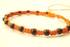 Halloween jewelry Black and orange hemp macrame by MisoPretty