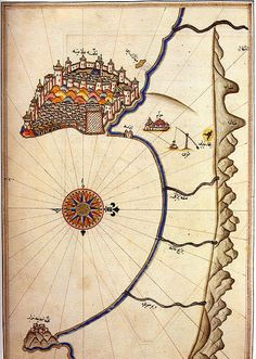 Image via Wikipedia This here is a partial map of the coast near Alanya, drawn by Ottoman cartographer, Piri Reis , sometime between 1465 a. Vintage Maps, Antique Maps, Piri Reis Map, Paris Map, Map Globe, Ancient Mysteries, Old Maps, Sketch Inspiration, City Maps