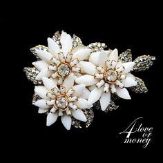 Eugene white floral pin for sale at 4loveormoney shop on rubylane http://www.rubylane.com/item/1337712-SIN-006/Eugene-white-floral-pin