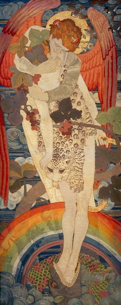 The Progress of a Soul: The Victory (1902) by Phoebe Anna Traquair, silk and gold thread embroidered on linen; National Galleries of Scotland