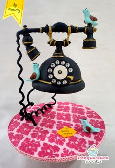 Vintage Phone Cake - Cake by Marielly Parra OMG this cake is amazing gravity defying wow!!!