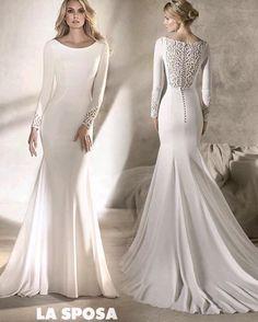 La sposa by pronovias fashion group long sleeved 2017 plain crepe wedding dress with lace back detail and buttons   www.theweddingdresscompany.co.uk