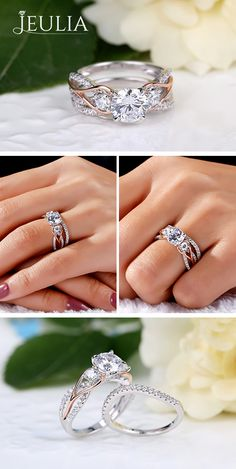 The engagement ring features a round cut created white sapphire center stone flanked on either side by two round cut white sapphires in looping rose gold adornments. On your wedding day, the coordinating white sapphire wedding band completes this stylish ensemble #JeuliaJewelry
