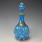 RARE 19c Baccarat French Artichoke Gilt Blue Opaline Glass Perfume Bottle