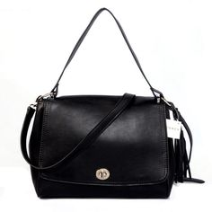 Coach Turnlock Medium Black Shoulder Bags AYQ Give You The Best feeling!