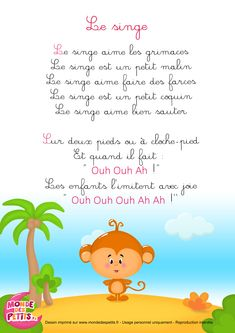 Comptines à gestes: Le singe Christmas Songs Lyrics, French Poems, French Education, Teaching French, Kids Songs, Learn French, French Language, Nursery Rhymes, Kids And Parenting