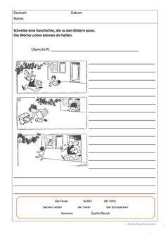 Bildergeschichten mit Worthilfen Arbeitsblatt - Kostenlose DAF Arbeitsblätter