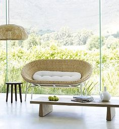 Love the little recess in the coffee table Terence Conran, Sofa Side Table, Sofa Furniture, Sofas, Wicker, New Homes, Coffee, Chair, Home Decor