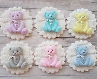 6 mixed baby teddy discs, christening, cupcake toppers baby shower twins
