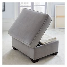West Elm Henry Storage Ottoman, Performance Velvet, Dove Gray ($350) ❤ liked on Polyvore featuring home, furniture, ottomans, velvet furniture, home storage furniture, velvet ottoman, gray brown furniture and storage ottoman