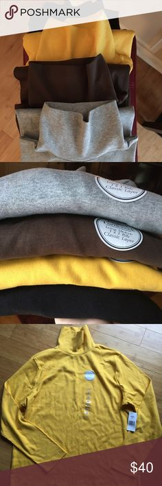 Four Long Sleeve Turtlenecks Kim Roger 100% Cotton Turtlenecks- Yellow, Grey, Brown, and Black. Long sleeved 1X1 Rib, Classic layer. Made in Jordan. All have tags except  black one. I tried it on and it was too hot to wear. All are XL in size Kim Rogers Tops Tees - Long Sleeve