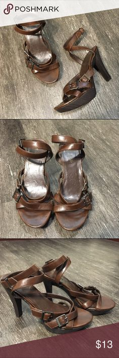 """NEW LISTING Brown Strappy Heels Brown Strappy Heels by Wanted. Size 7.5. Some scuff marks, see fourth photo. Heel height 4.5"""". Platform height 1"""". Wanted Shoes Heels"""